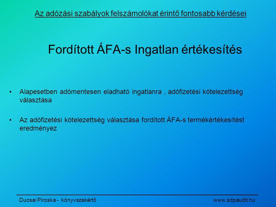Fordított ÁFA-s Ingatlan értékesítés