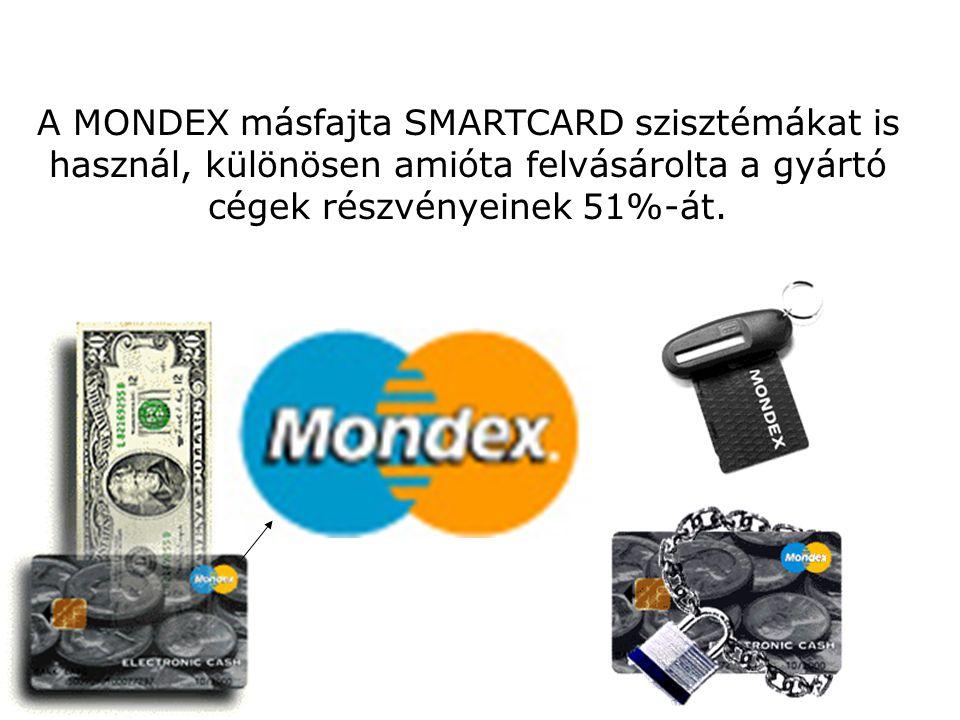 A MONDEX másfajta SMARTCARD szisztémákat is használ, különösen amióta felvásárolta a gyártó cégek részvényeinek 51%-át.