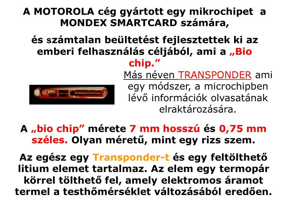 A MOTOROLA cég gyártott egy mikrochipet a MONDEX SMARTCARD számára,