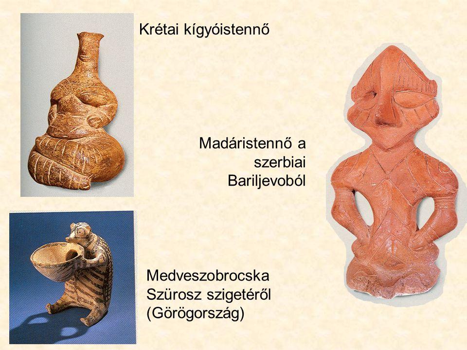 Krétai kígyóistennő Madáristennő a szerbiai Bariljevoból.