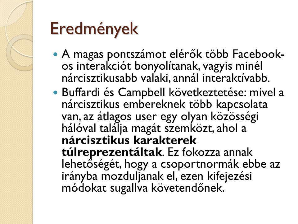 Eredmények A magas pontszámot elérők több Facebook- os interakciót bonyolítanak, vagyis minél nárcisztikusabb valaki, annál interaktívabb.