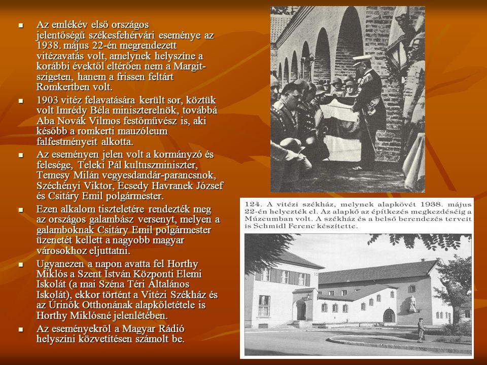 Az emlékév első országos jelentőségű székesfehérvári eseménye az 1938