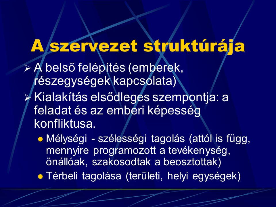 A szervezet struktúrája