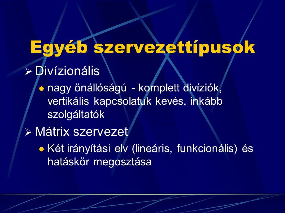 Egyéb szervezettípusok