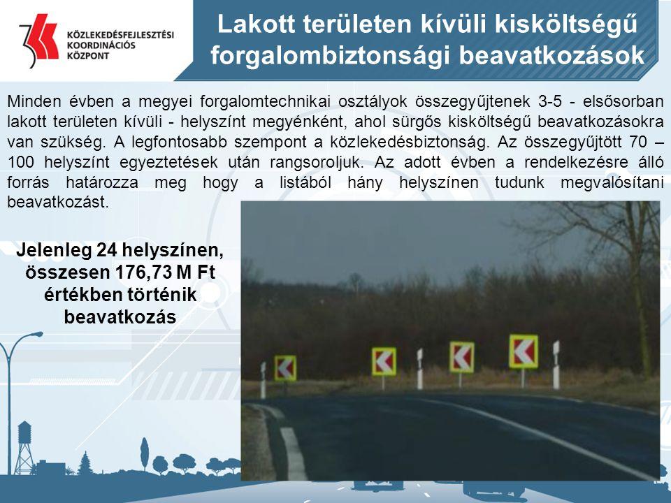 Lakott területen kívüli kisköltségű forgalombiztonsági beavatkozások