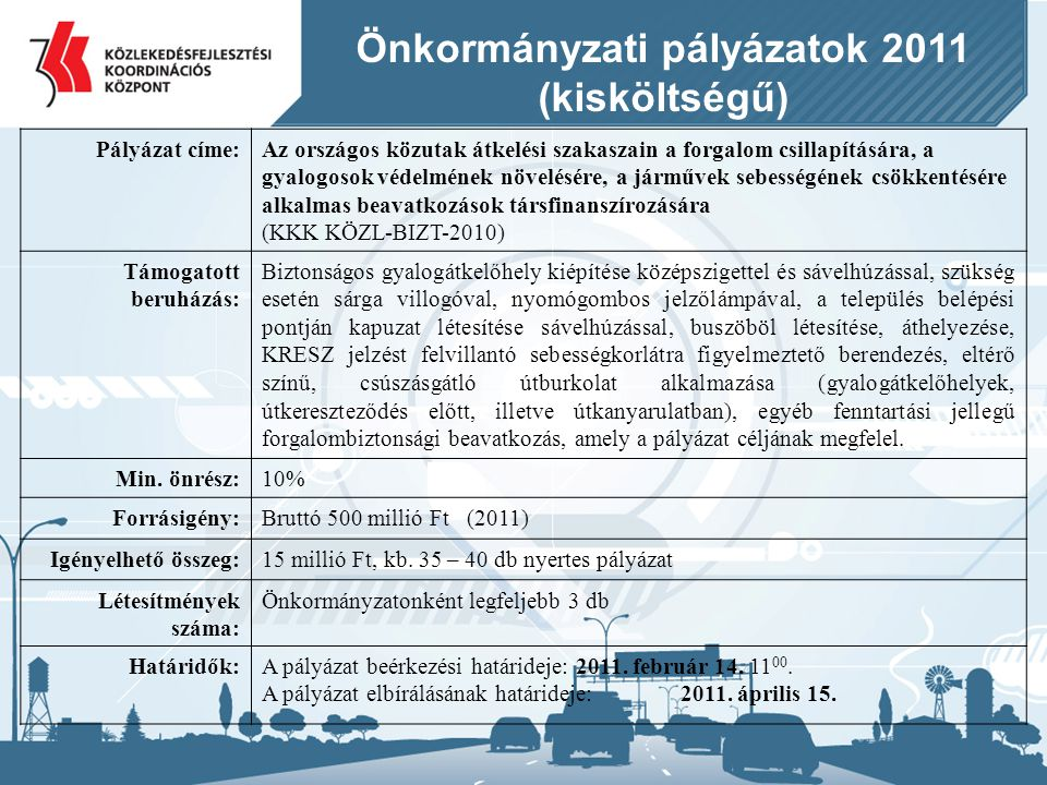 Önkormányzati pályázatok 2011
