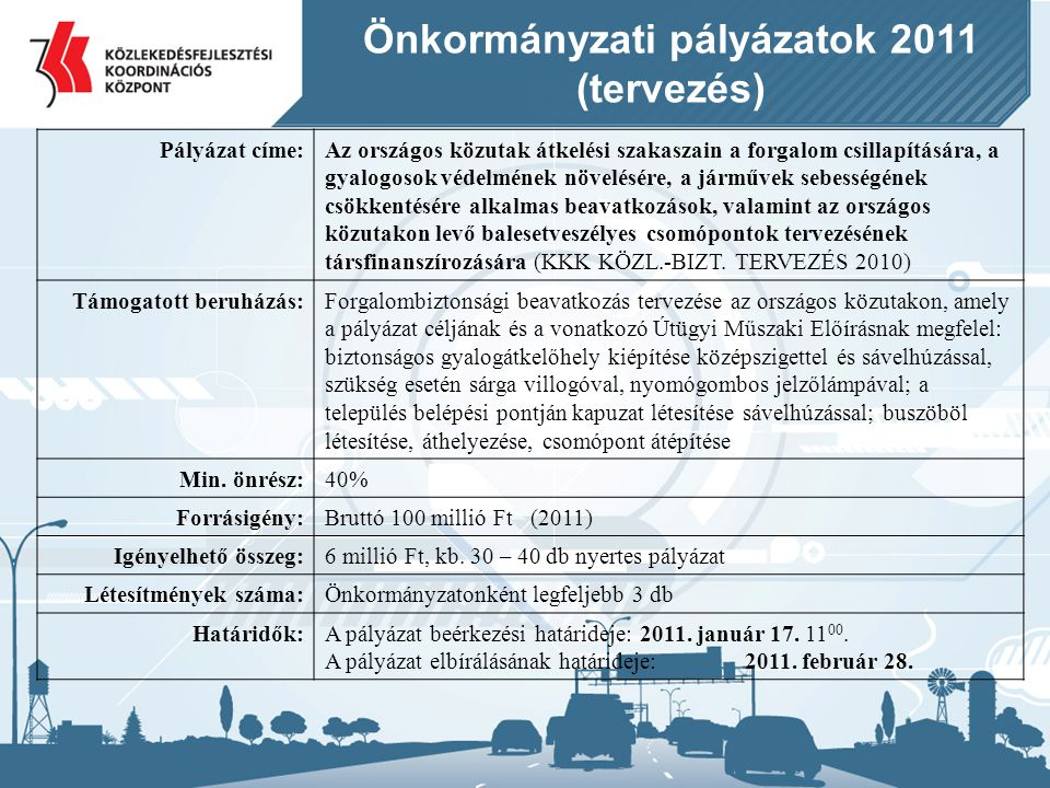 Önkormányzati pályázatok 2011 (tervezés)
