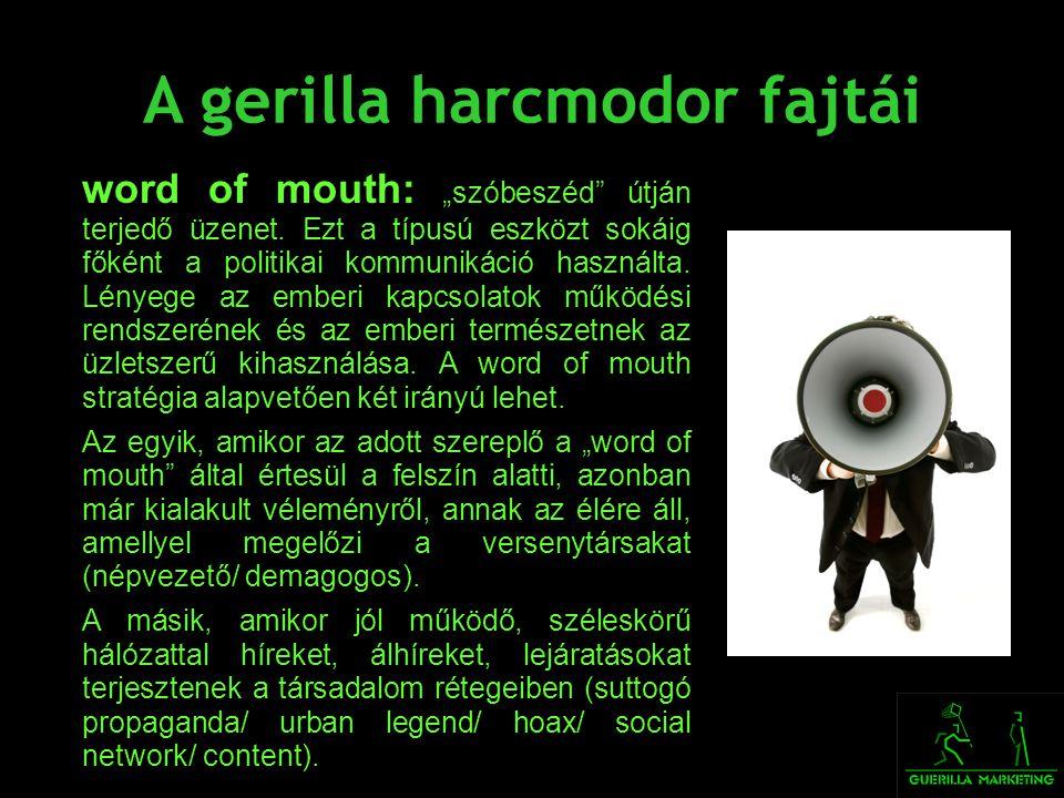 A gerilla harcmodor fajtái