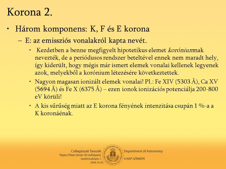 Korona 2. Három komponens: K, F és E korona
