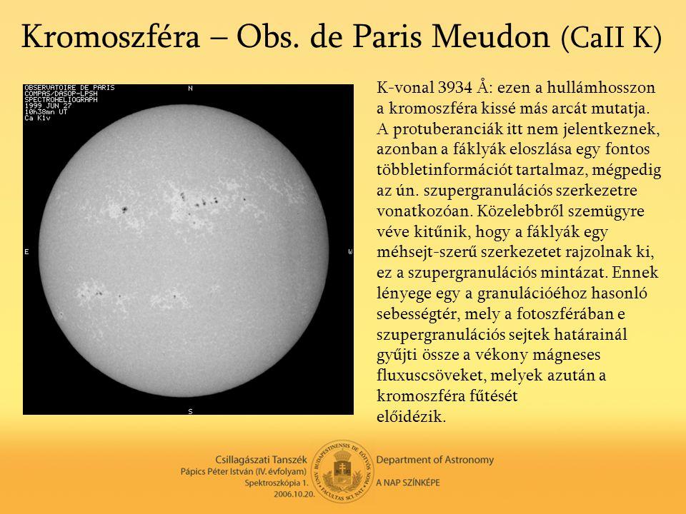 Kromoszféra – Obs. de Paris Meudon (CaII K)