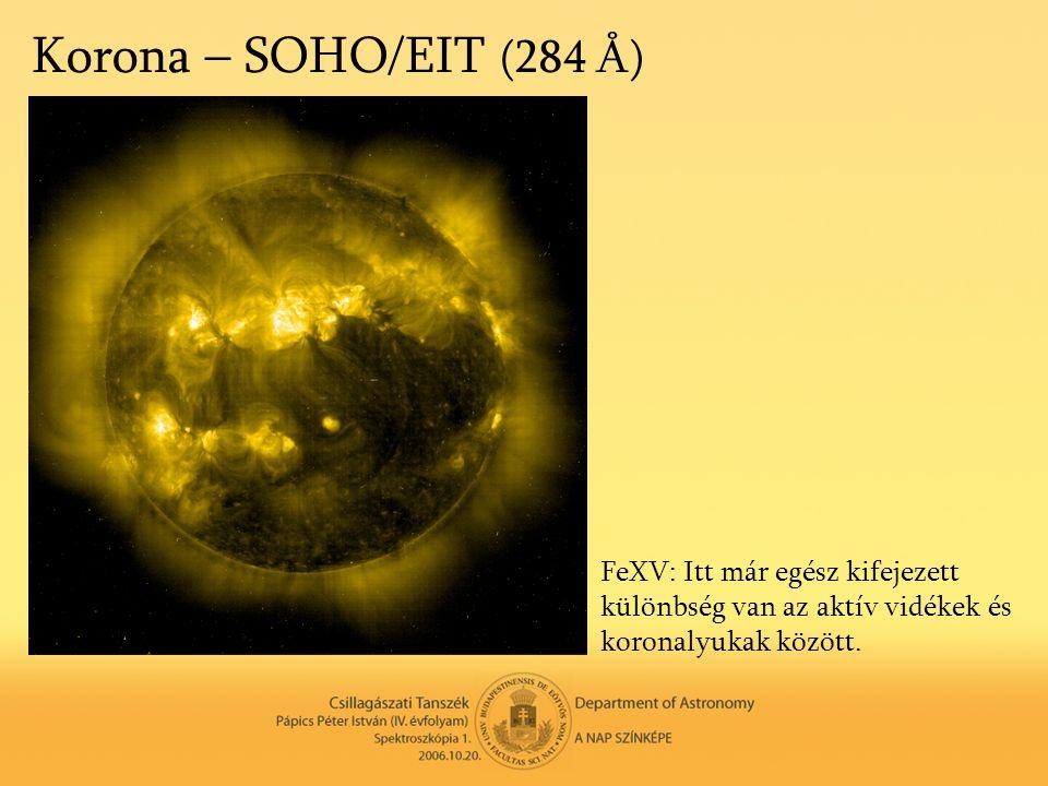 Korona – SOHO/EIT (284 Å) FeXV: Itt már egész kifejezett különbség van az aktív vidékek és koronalyukak között.