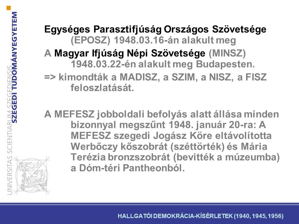 HALLGATÓI DEMOKRÁCIA-KÍSÉRLETEK (1940, 1945, 1956)