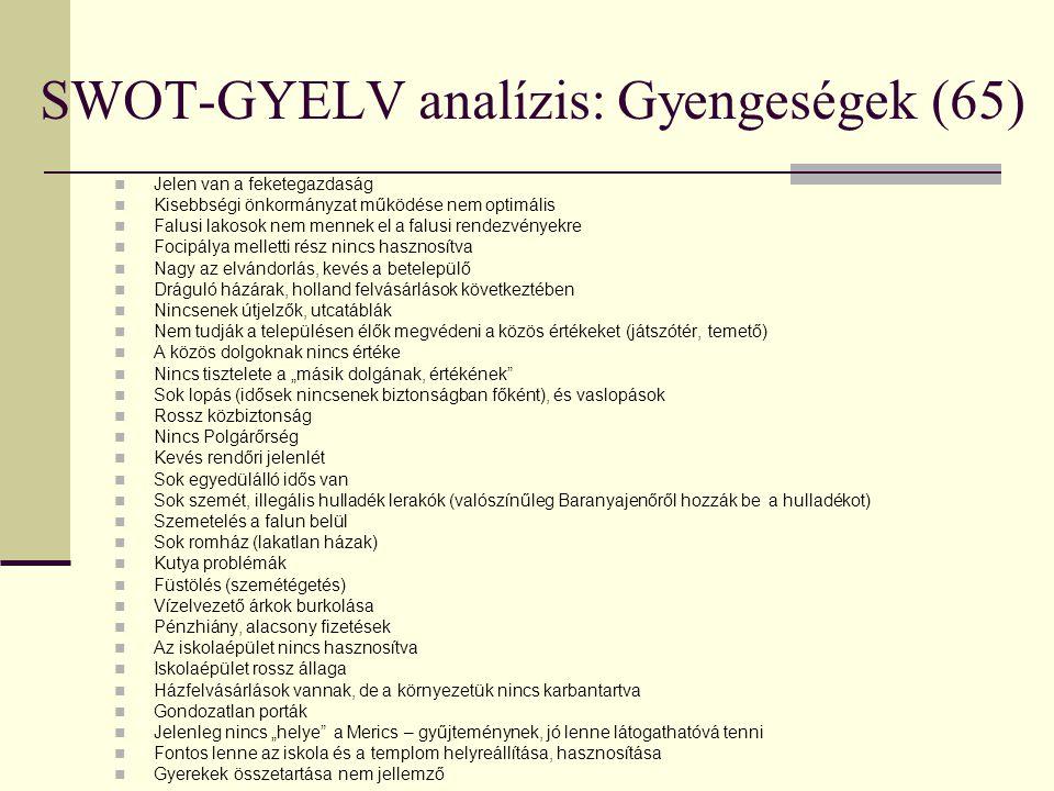 SWOT-GYELV analízis: Gyengeségek (65)