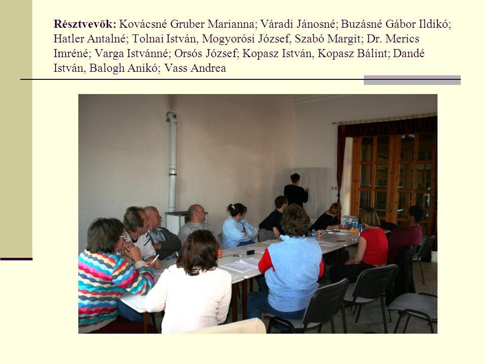 Résztvevők: Kovácsné Gruber Marianna; Váradi Jánosné; Buzásné Gábor Ildikó; Hatler Antalné; Tolnai István, Mogyorósi József, Szabó Margit; Dr.