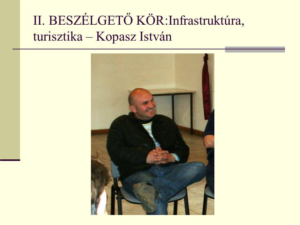 II. BESZÉLGETŐ KÖR:Infrastruktúra, turisztika – Kopasz István