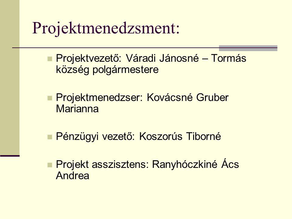 Projektmenedzsment: Projektvezető: Váradi Jánosné – Tormás község polgármestere. Projektmenedzser: Kovácsné Gruber Marianna.