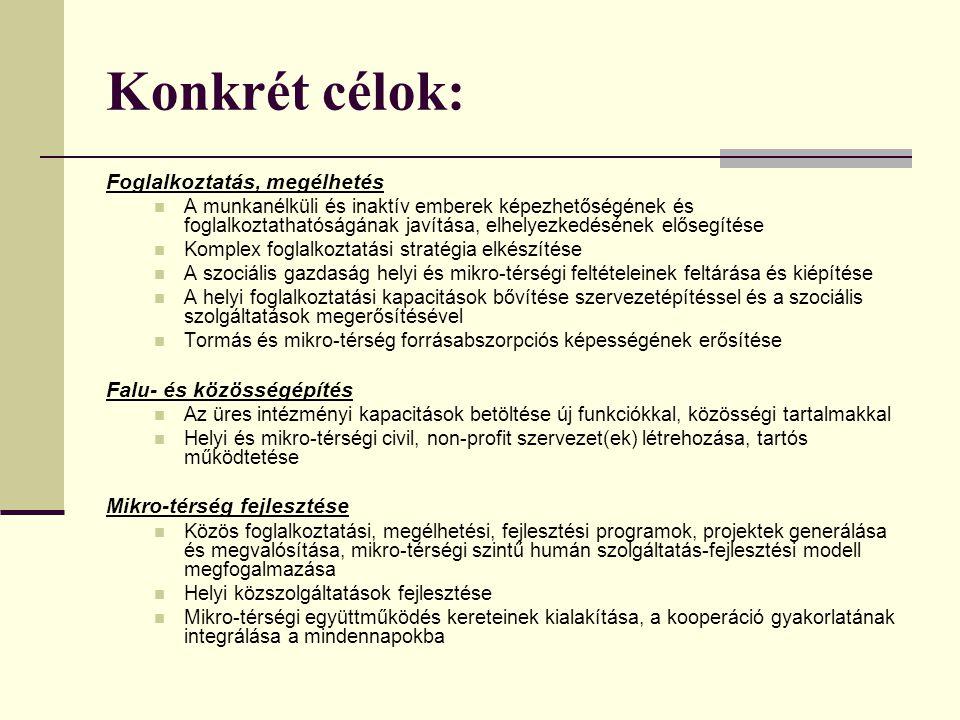 Konkrét célok: Foglalkoztatás, megélhetés Falu- és közösségépítés