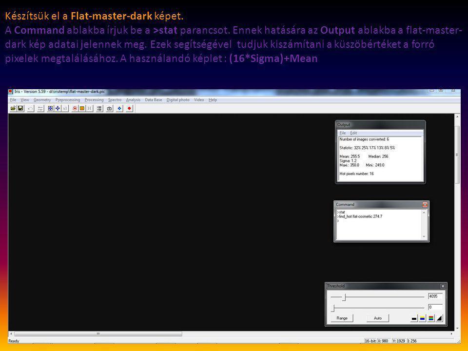 Készítsük el a Flat-master-dark képet