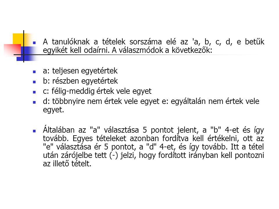 A tanulóknak a tételek sorszáma elé az a, b, c, d, e betűk egyikét kell odaírni. A válaszmódok a következők:
