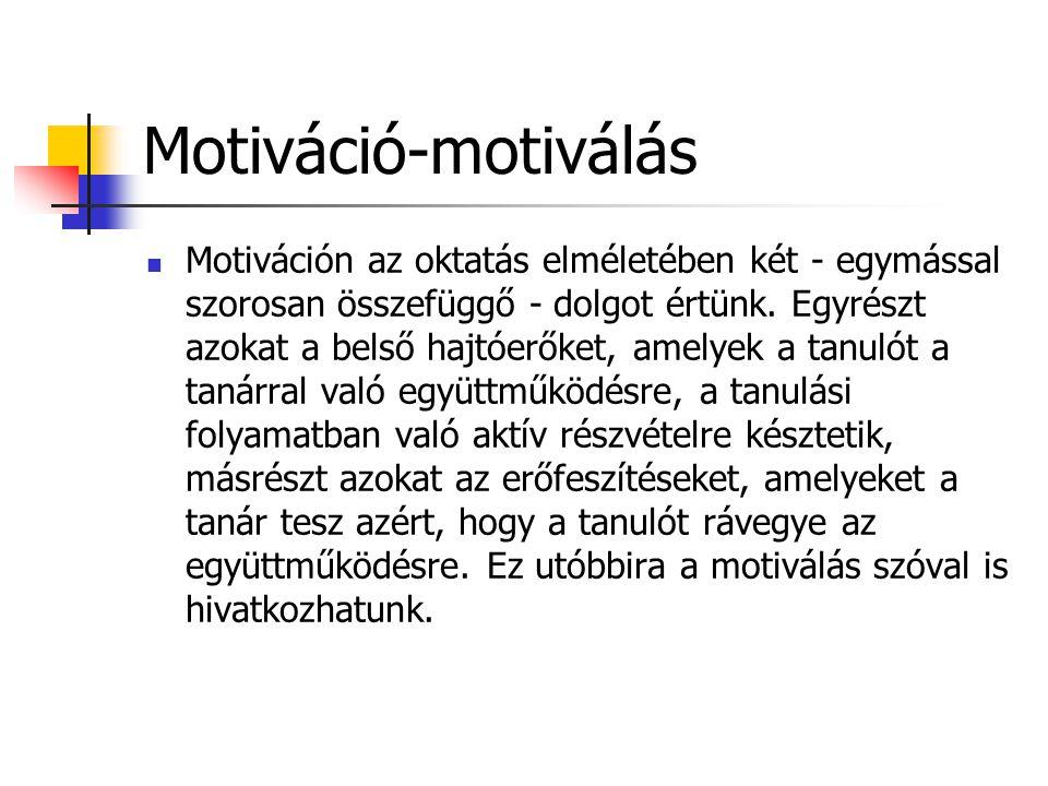 Motiváció-motiválás