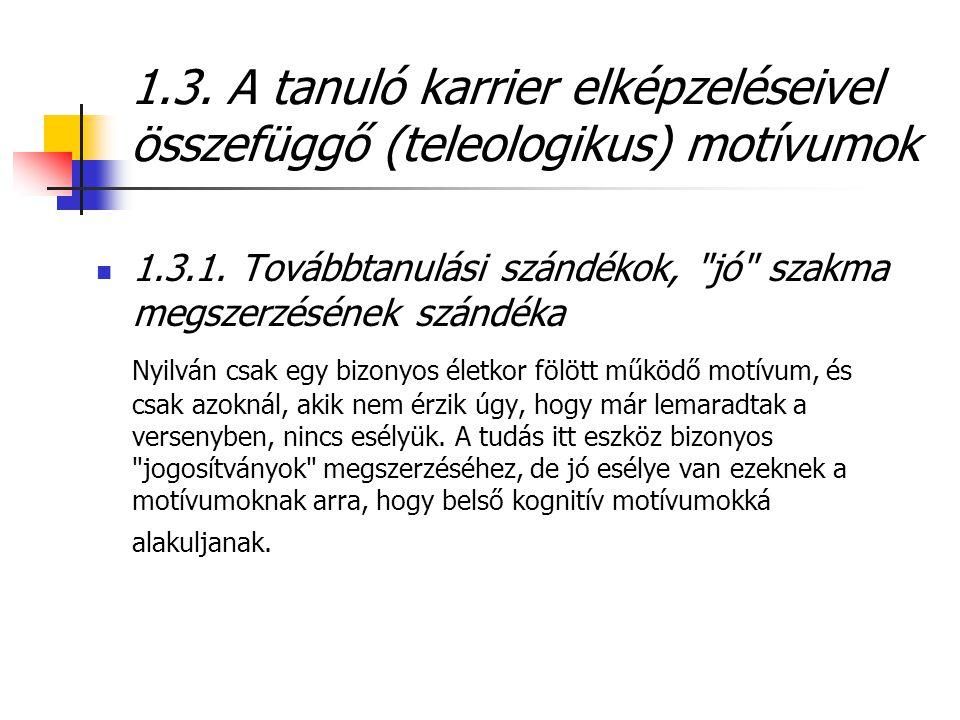 1.3. A tanuló karrier elképzeléseivel összefüggő (teleologikus) motívumok