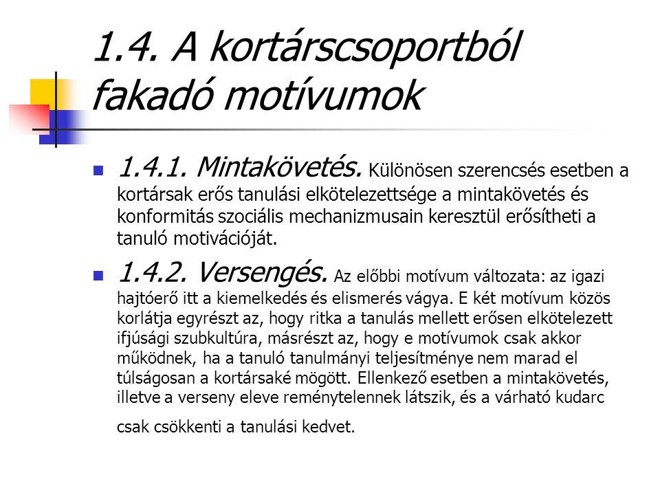 1.4. A kortárscsoportból fakadó motívumok