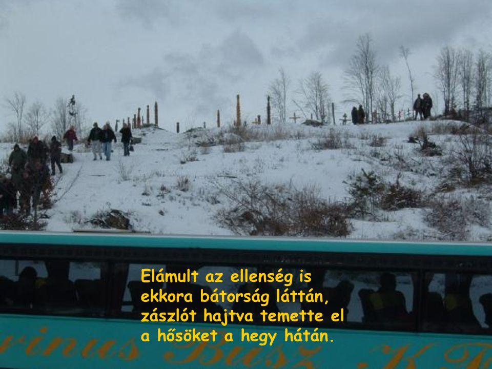 Elámult az ellenség is ekkora bátorság láttán, zászlót hajtva temette el a hősöket a hegy hátán.