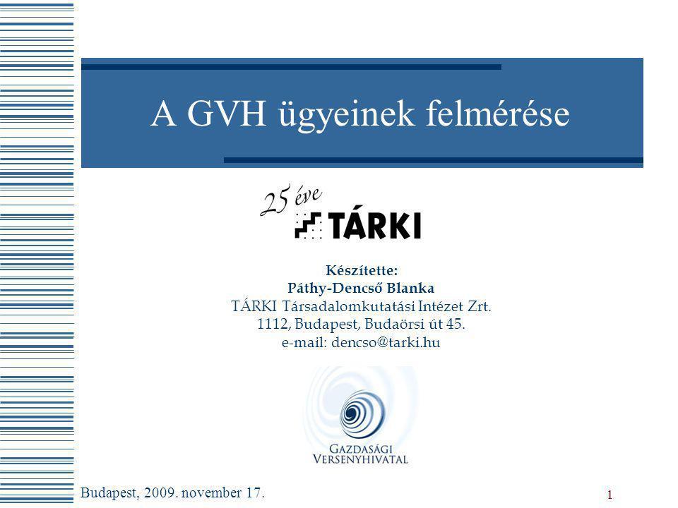 A GVH ügyeinek felmérése