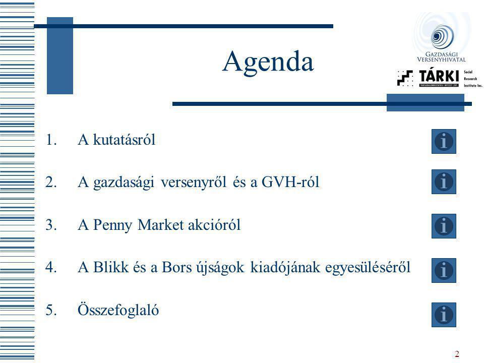 Agenda A kutatásról A gazdasági versenyről és a GVH-ról