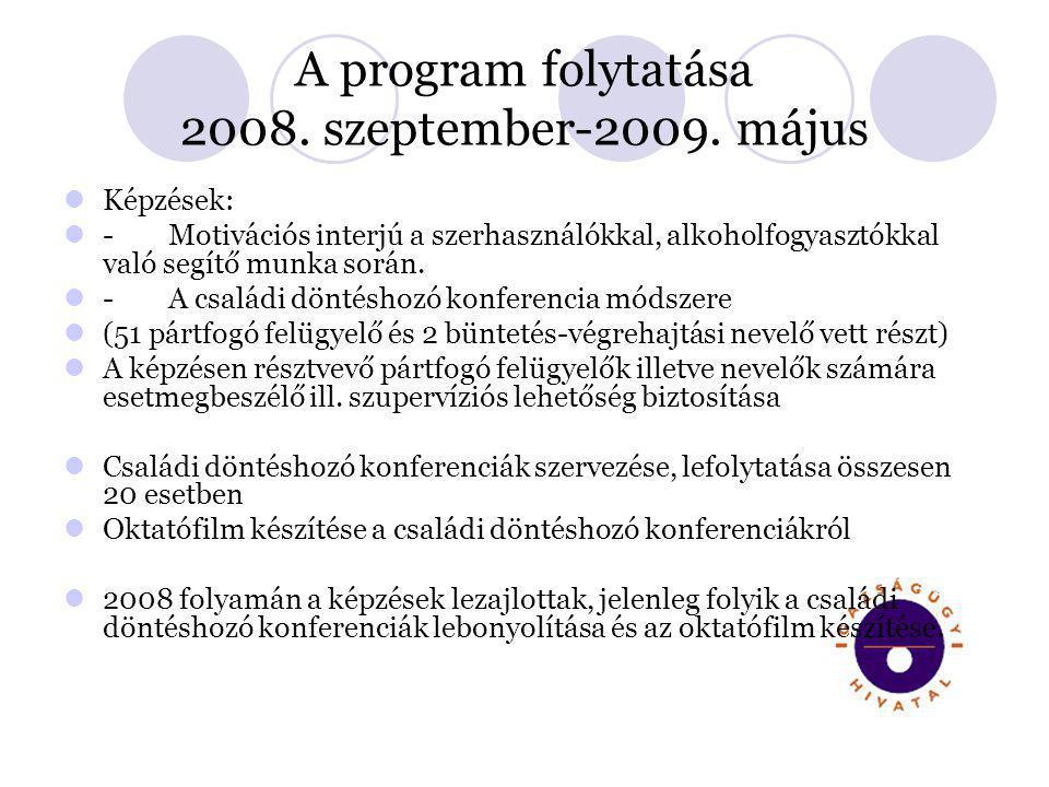 A program folytatása 2008. szeptember-2009. május