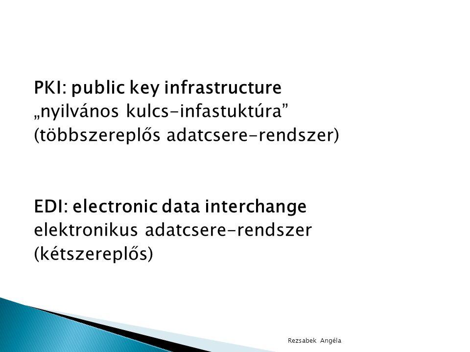 """PKI: public key infrastructure """"nyilvános kulcs-infastuktúra (többszereplős adatcsere-rendszer) EDI: electronic data interchange elektronikus adatcsere-rendszer (kétszereplős)"""
