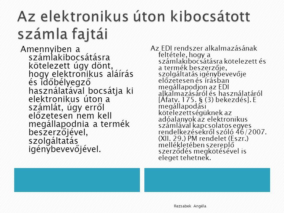 Az elektronikus úton kibocsátott számla fajtái