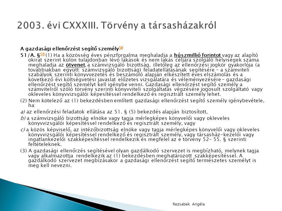 2003. évi CXXXIII. Törvény a társasházakról