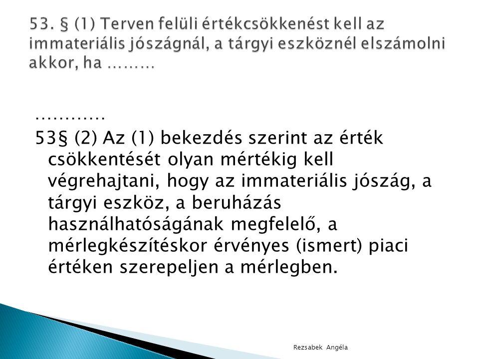 53. § (1) Terven felüli értékcsökkenést kell az immateriális jószágnál, a tárgyi eszköznél elszámolni akkor, ha ………