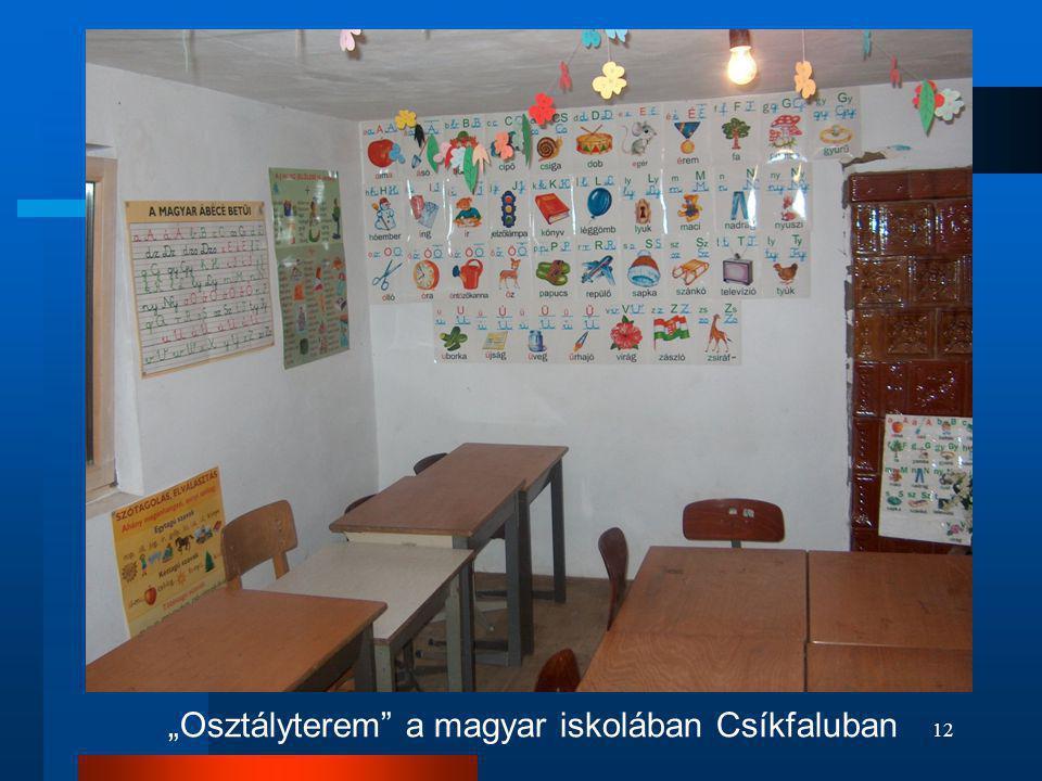 """""""Osztályterem a magyar iskolában Csíkfaluban"""