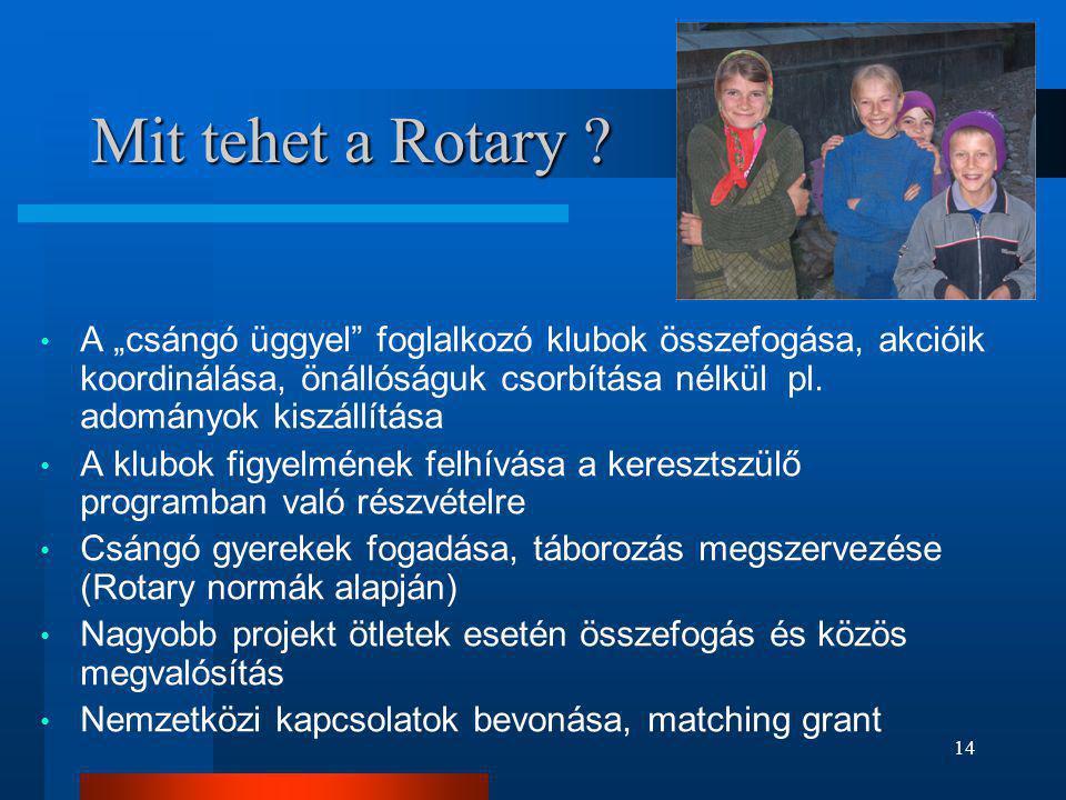 """Mit tehet a Rotary A """"csángó üggyel foglalkozó klubok összefogása, akcióik koordinálása, önállóságuk csorbítása nélkül pl. adományok kiszállítása."""