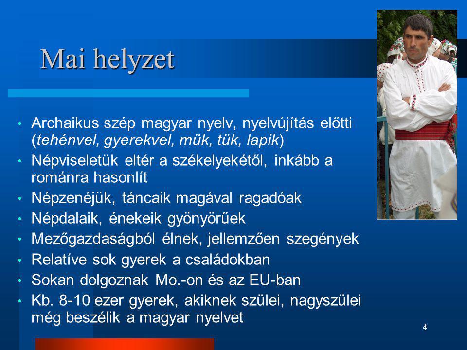 Mai helyzet Archaikus szép magyar nyelv, nyelvújítás előtti (tehénvel, gyerekvel, mük, tük, lapik)
