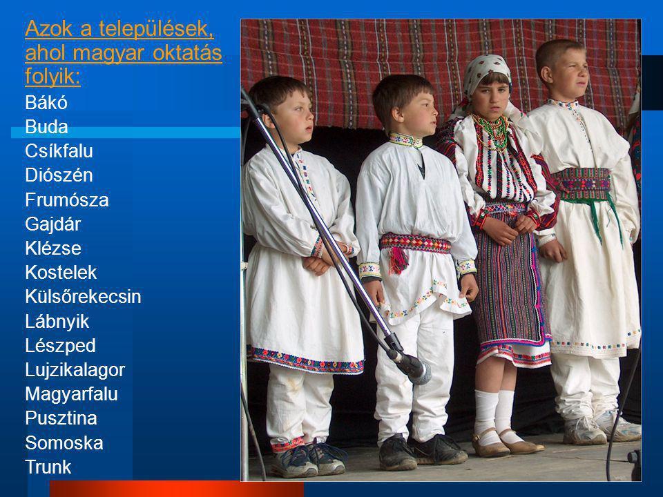 Azok a települések, ahol magyar oktatás folyik: