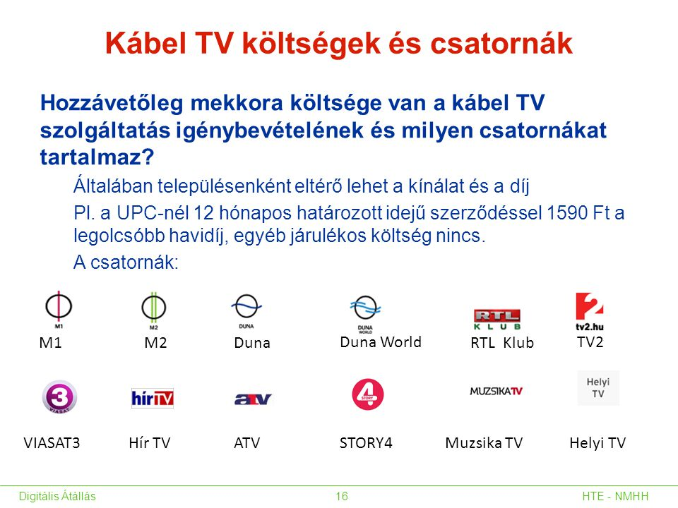 Kábel TV költségek és csatornák