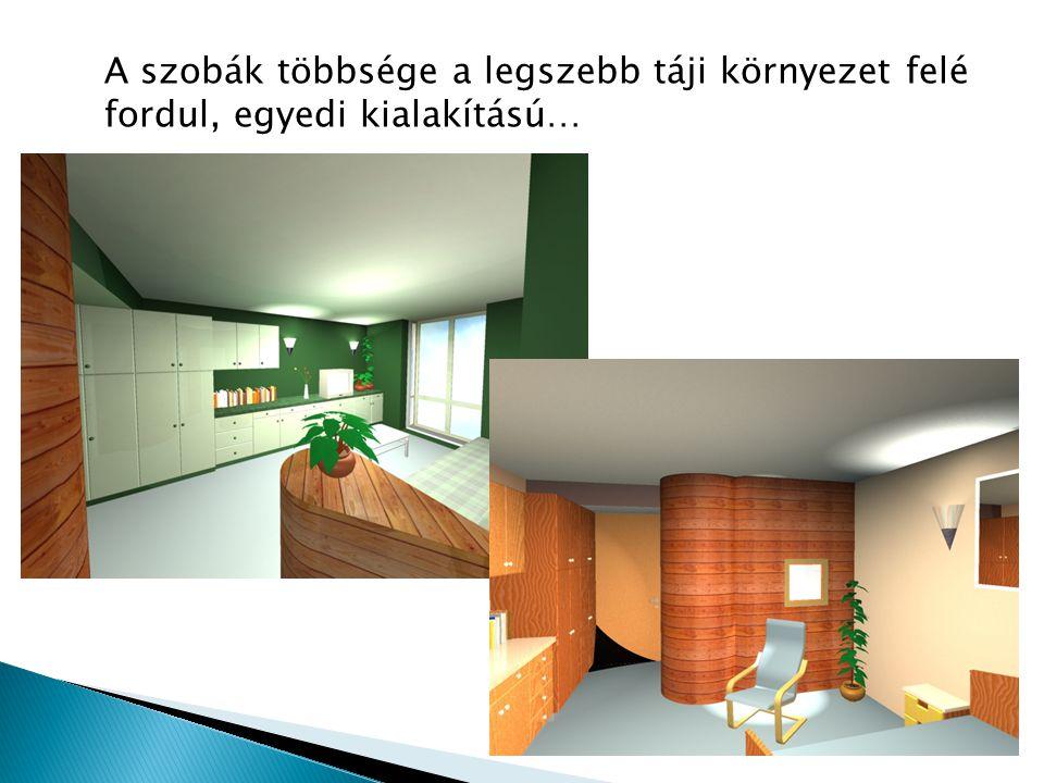 A szobák többsége a legszebb táji környezet felé fordul, egyedi kialakítású…