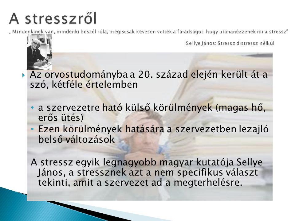 """A stresszről """" Mindenkinek van, mindenki beszél róla, mégiscsak kevesen vették a fáradságot, hogy utánanézzenek mi a stressz Sellye János: Stressz distressz nélkül"""