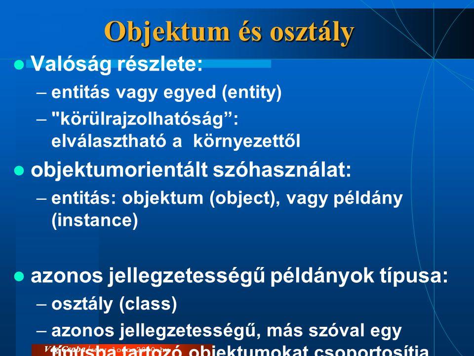 Objektum és osztály Valóság részlete: objektumorientált szóhasználat: