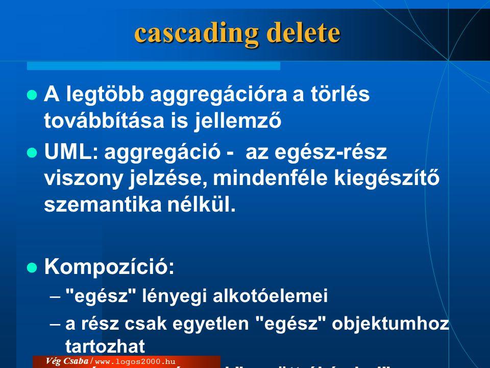 cascading delete A legtöbb aggregációra a törlés továbbítása is jellemző.