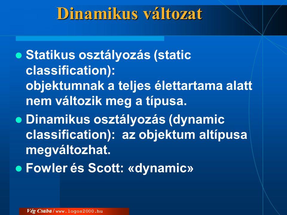 Dinamikus változat Statikus osztályozás (static classification): objektumnak a teljes élettartama alatt nem változik meg a típusa.