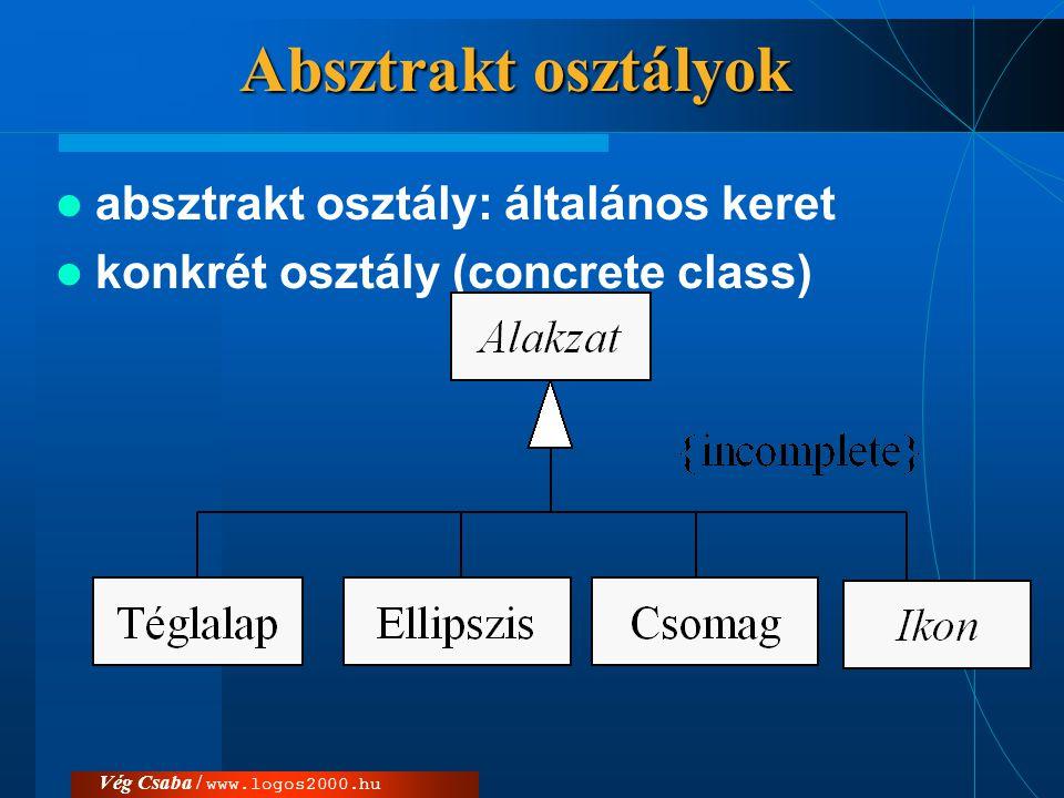 Absztrakt osztályok absztrakt osztály: általános keret