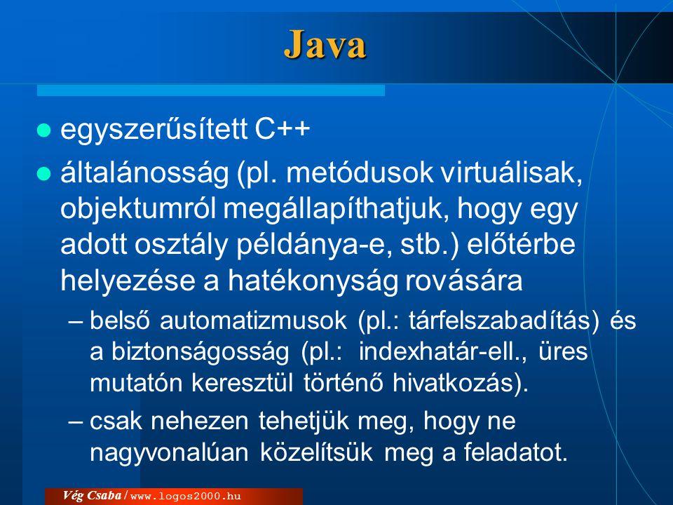 Java egyszerűsített C++