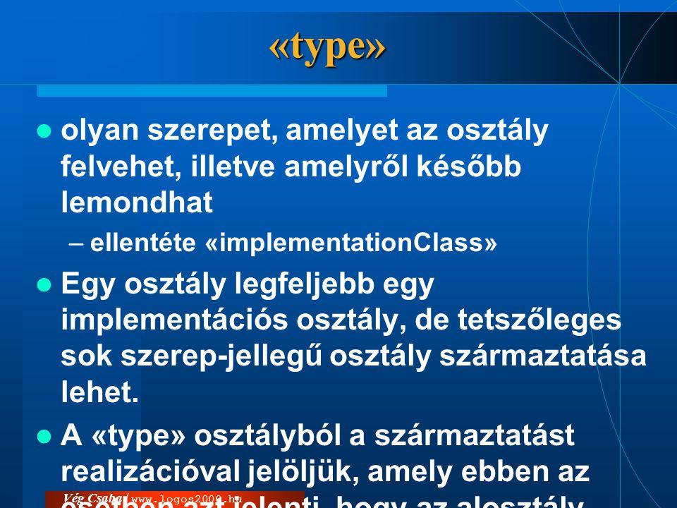«type» olyan szerepet, amelyet az osztály felvehet, illetve amelyről később lemondhat. ellentéte «implementationClass»