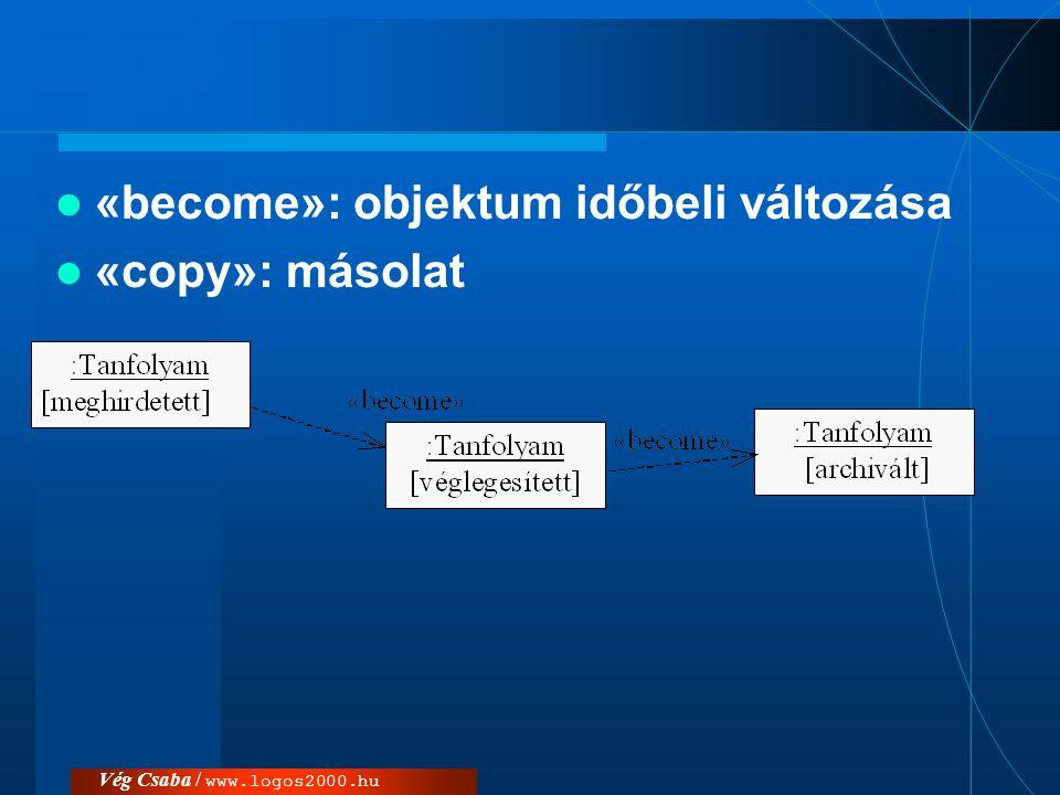 «become»: objektum időbeli változása «copy»: másolat