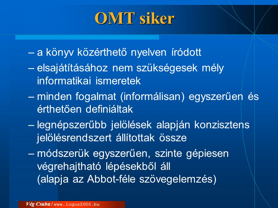 OMT siker a könyv közérthető nyelven íródott