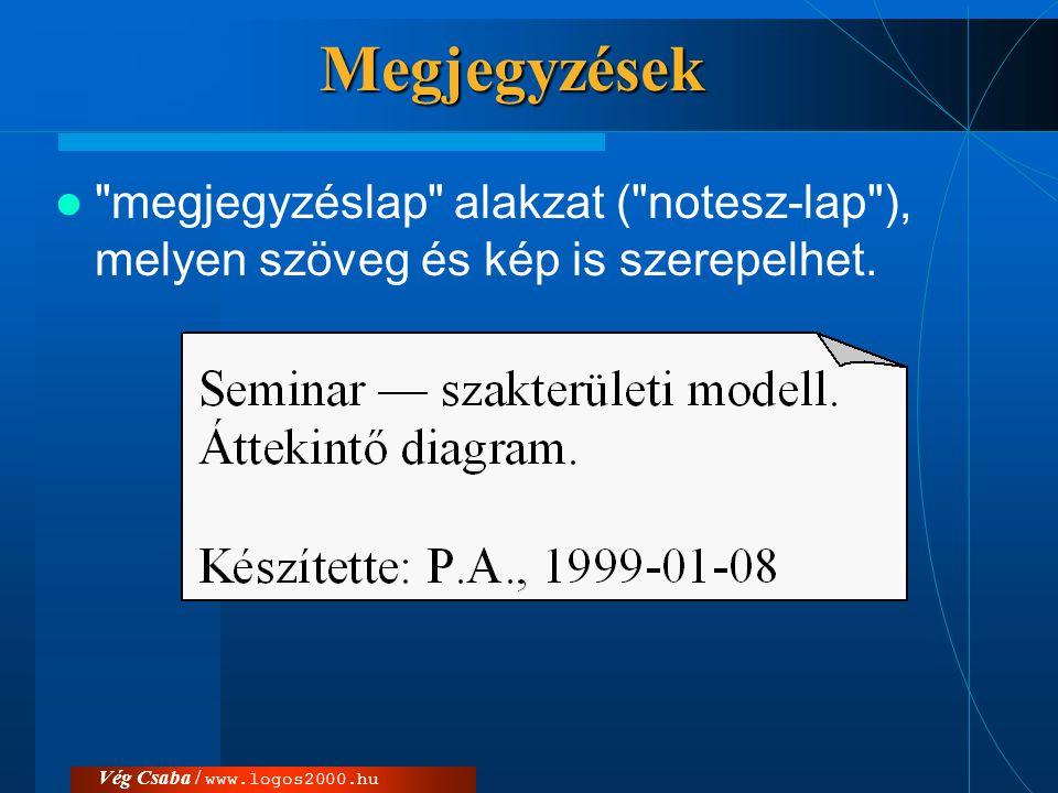 Megjegyzések megjegyzéslap alakzat ( notesz-lap ), melyen szöveg és kép is szerepelhet.